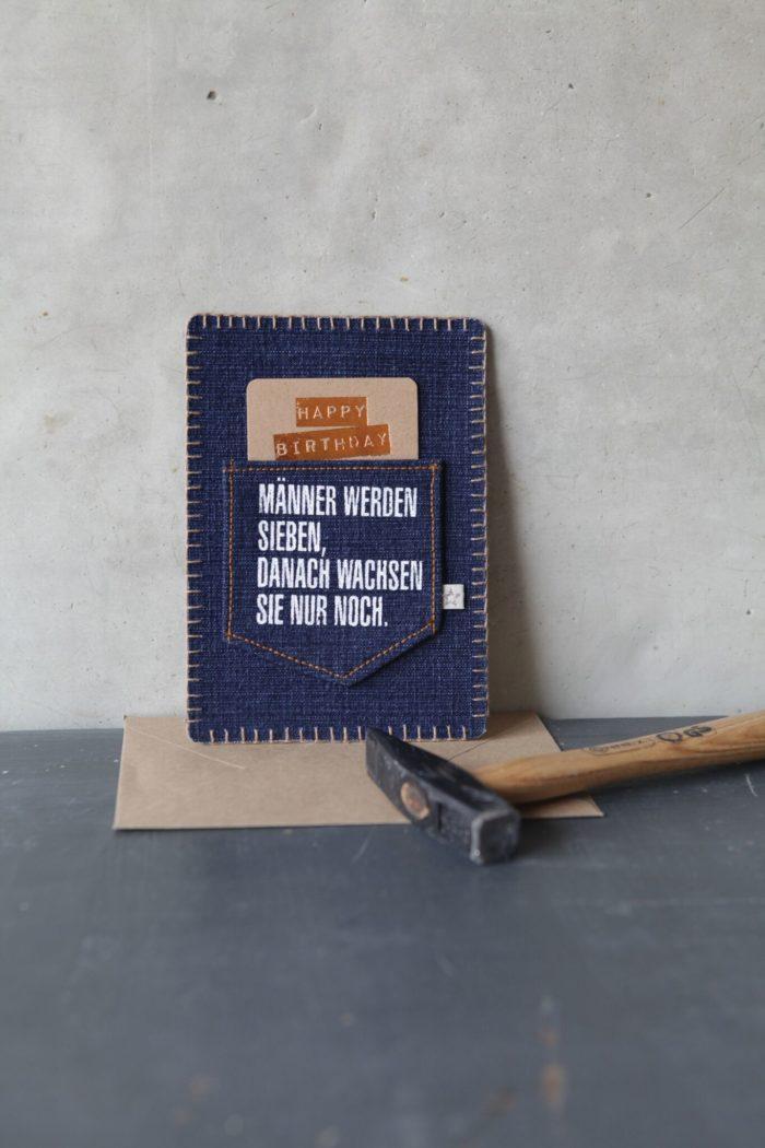 "Jeanskarte ""Happy Birthday/Männer"" 2"