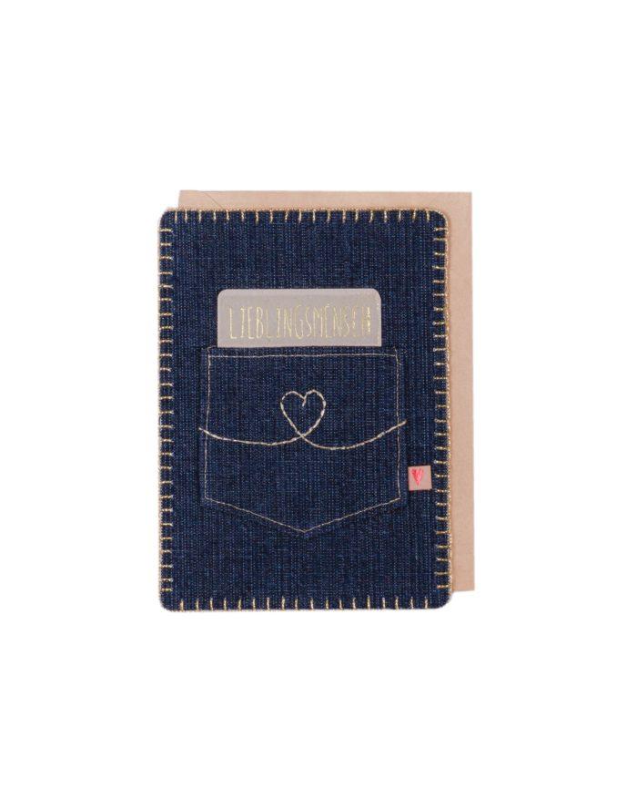 "Jeanskarte ""Lieblingsmensch"" 1"