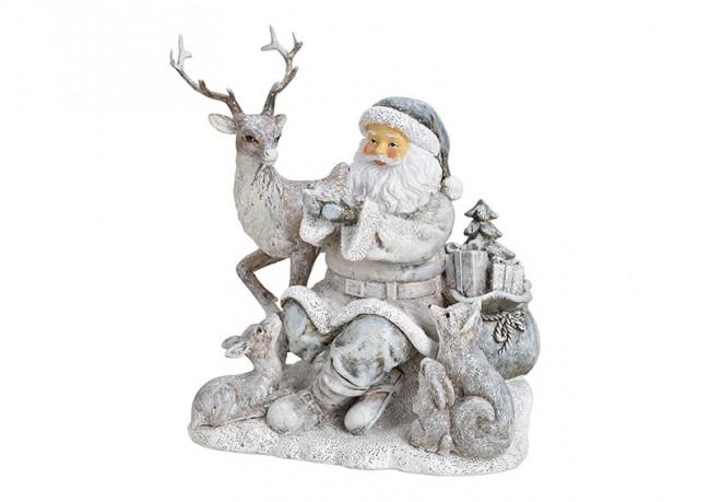 Weihnachtsmann mit Tieren silber 1