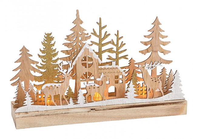 Winterszene Holz mit LED Beleuchtung 1