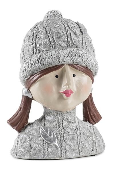 Ladykopf mit Pudelmütze 1