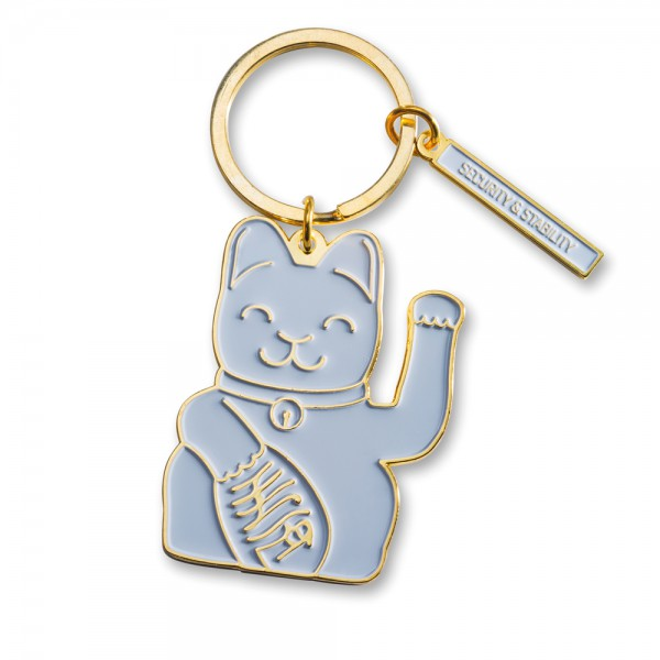 Lucky Cat Keyring Grey 1