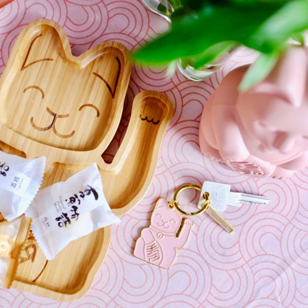Lucky Cat Keyring Pink 3